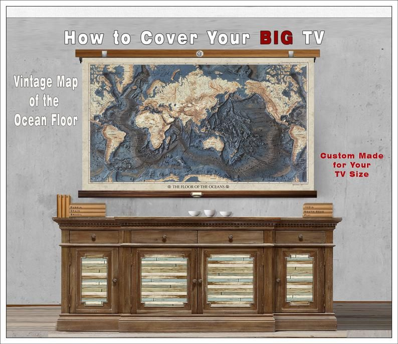 How To Hide A Tv Vintage Ocean Floor Map Tv Cover Tv Pull Downs Custom Made For Your Space Tv Covers Flooring Red Cedar Wood