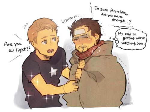 Marvel - Avengers - Stony Steve Rogers Tony Stark Sick