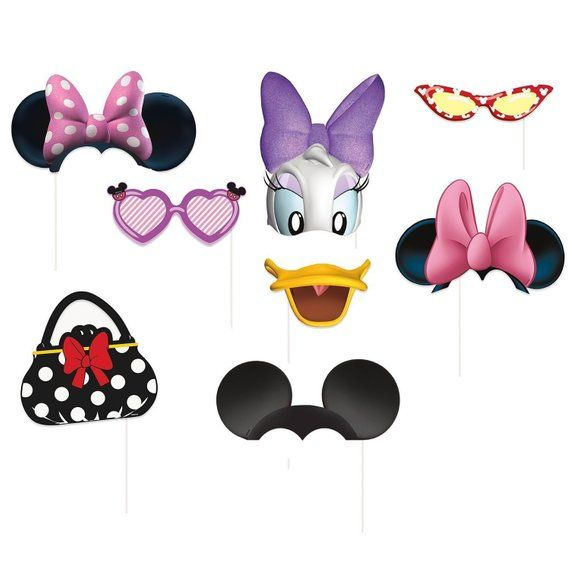 Minnie Mouse Photo Booth Props 8pc Photo Props Party Decoration