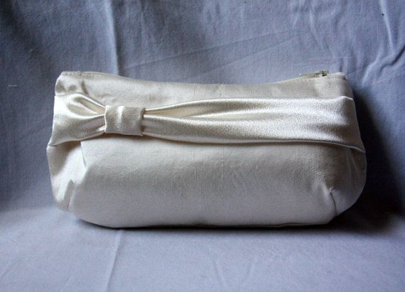 Ivory Bridal Clutch with Sash  Silk Dupioni and by BarefootBagShop, $20.00
