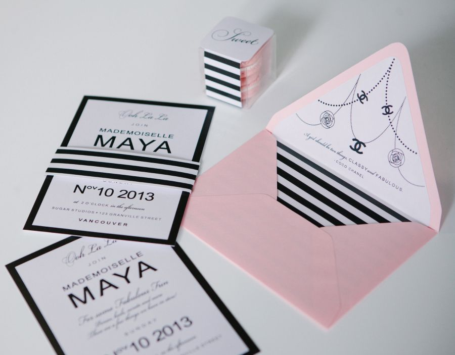 Coco Chanel inspired fashionista birthday party invitations and