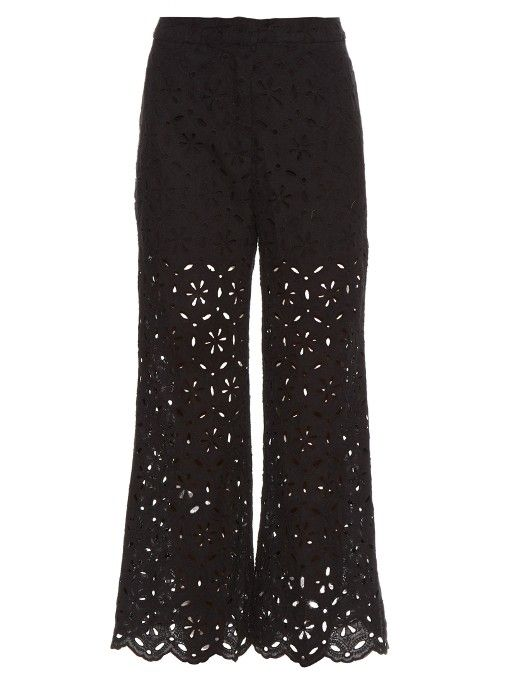 ZIMMERMANN Pavilion Broderie-Anglaise Cropped Trousers. #zimmermann #cloth #trousers