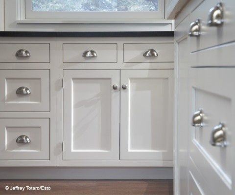 Cabinet hardware: cup pulls on the drawers is a must! | Kitchen ...