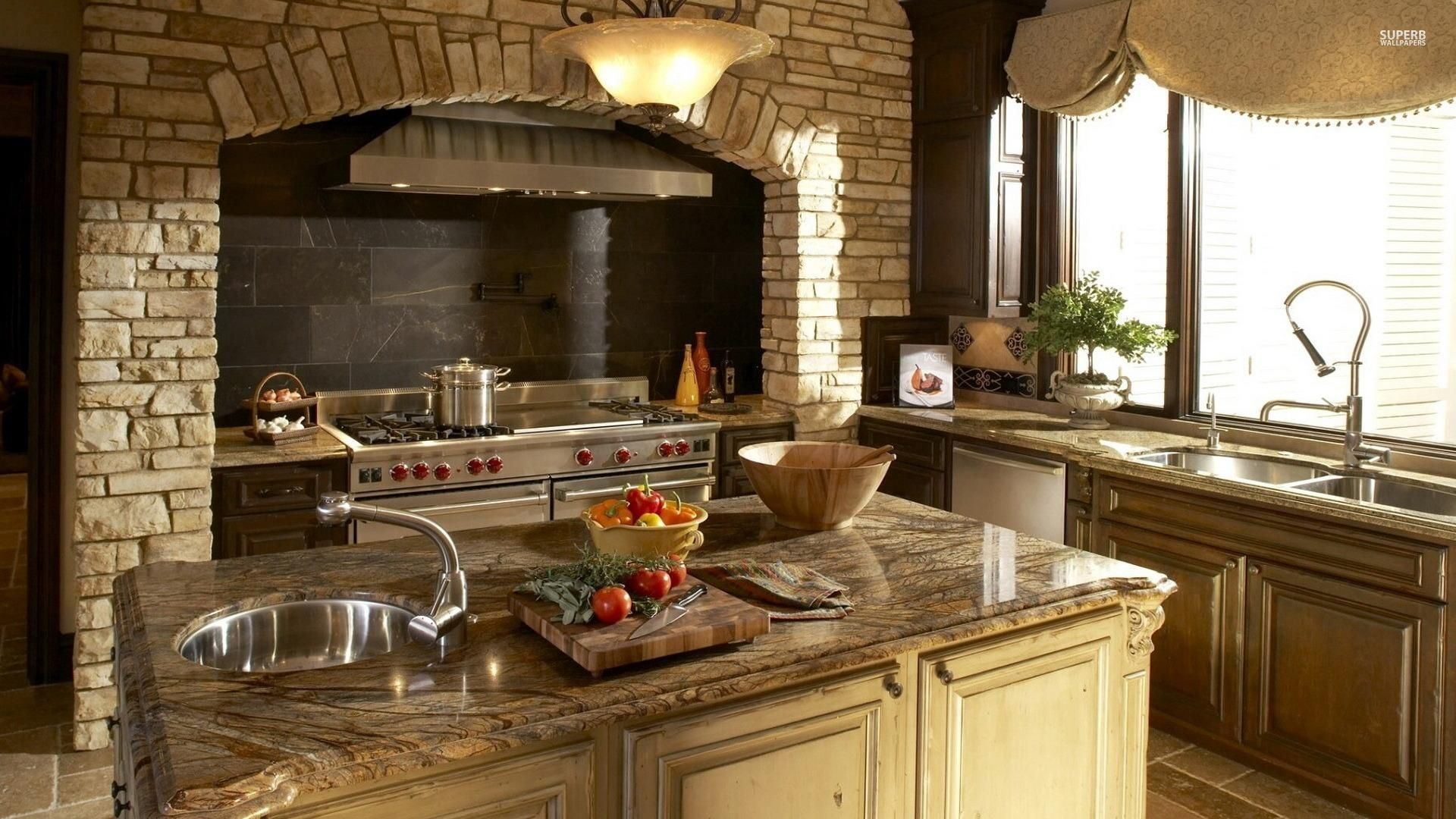 Mustard B Q Wallpaper High Definition Stone Kitchen Design Tuscan Kitchen Tuscan Kitchen Design