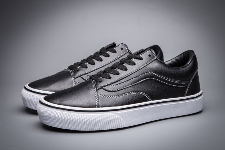 0018971c41 VANS OLD SKOOL Black Full Leather All Black Classic Skateboard Model F153 36 -44 Source 10  Vans