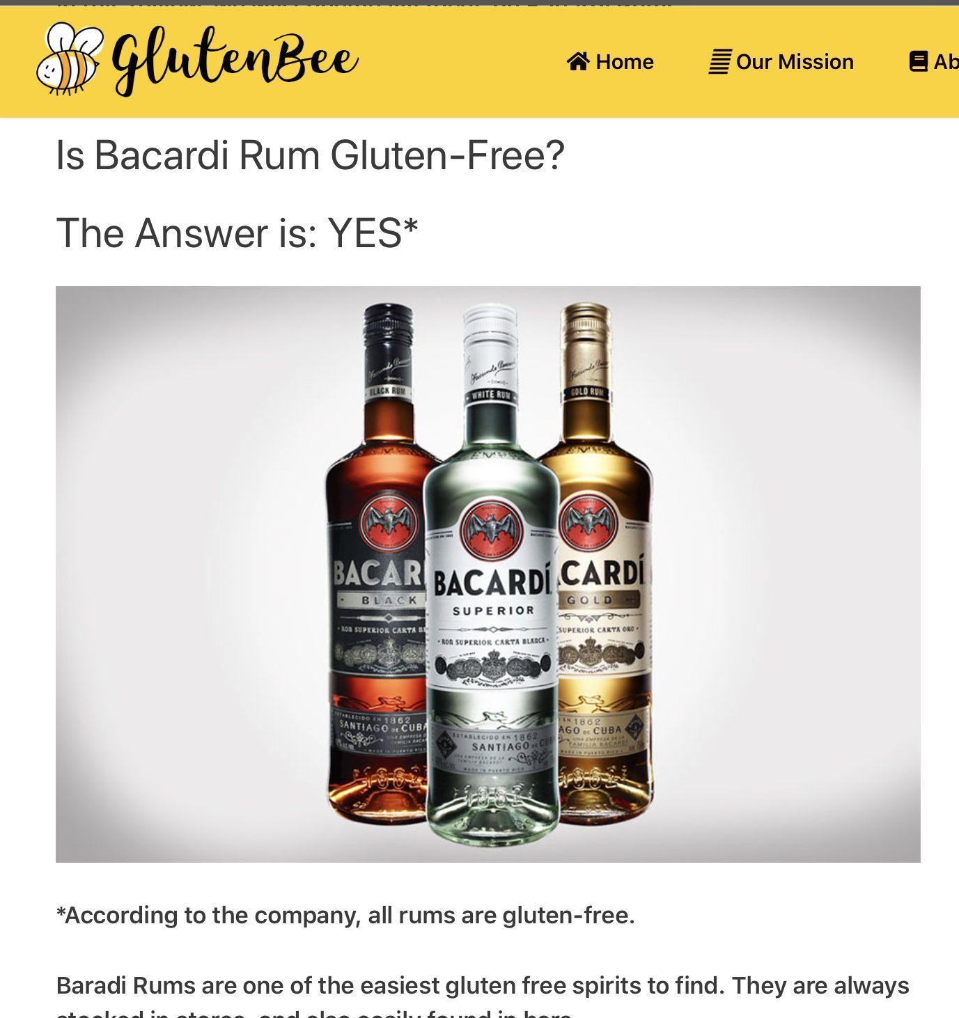 Gluten Free Rum Bacardi rum, Rum drinks easy, Bacardi