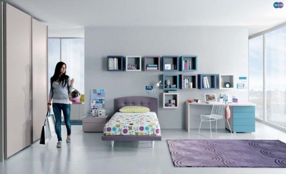 Aqua Lavendar White Teen Room Design With Minimalist Study Desk And  Bookcase Box