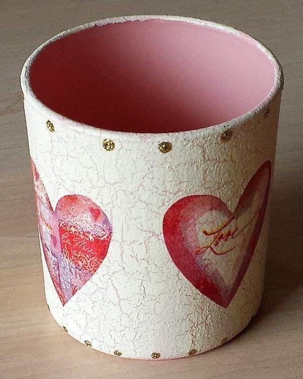 Serviettentechnik krakelierlack herzen teelicht for Blumentopfe basteln