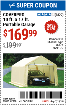 Coverpro 10 Ft X 17 Ft Portable Garage For 169 99 In 2020 Portable Garage Harbor Freight Tools Harbor Freight Coupon