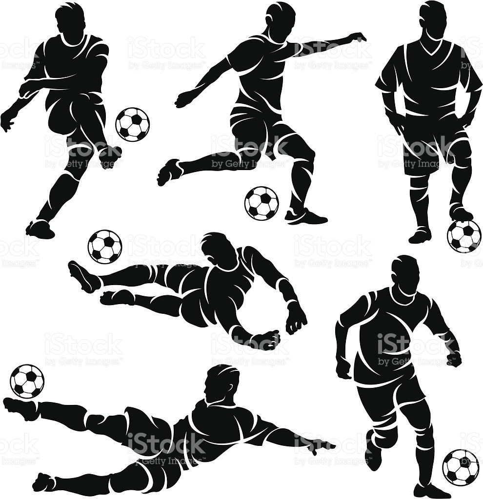 Silhouettes Of Soccer Football Players Soccer Drawing Football Artwork Soccer Silhouette
