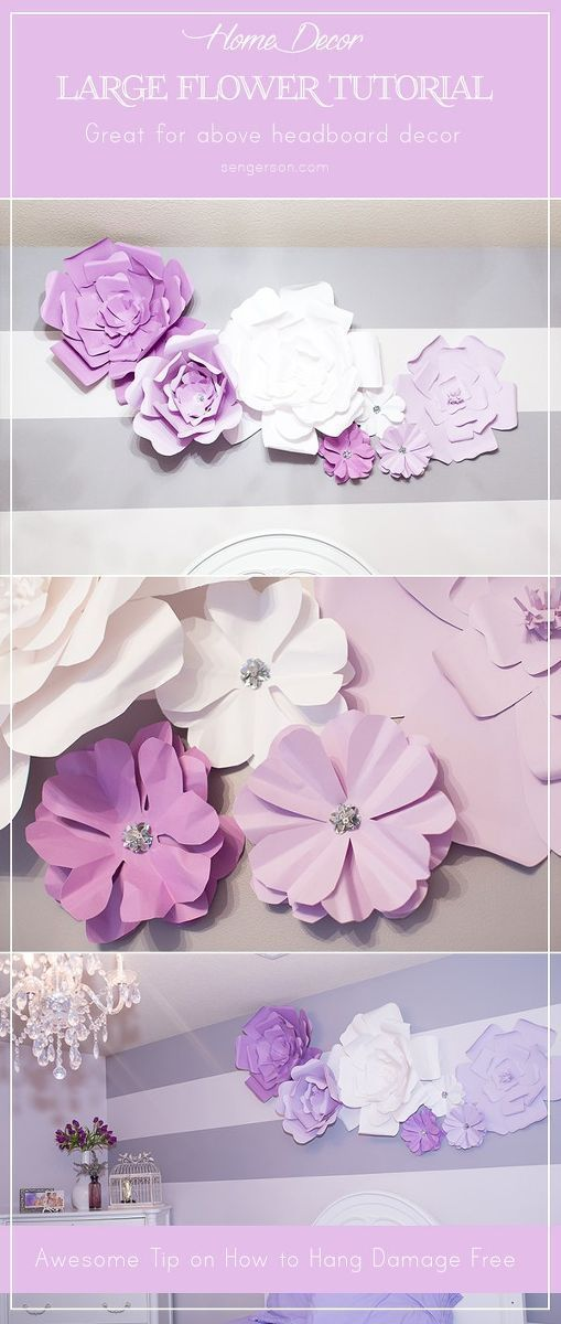 Large Paper Flowers (Wall Decor and Above Bed) For our little girl's bedroom, we wanted to decorate her wall that was pretty plain. We had it painted in an antique pearl lavender color, but we wanted somethi…For our little girl's bedroom, we wanted to decorate her wall that was pretty plain. We had it painted in an antique pearl lavender color, but we wanted som...