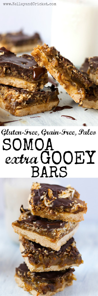 These Somoa Gooey Bars are loaded with extra gooey caramel, toasted coconut, and dark chocolate, layered on a crumbly shortbread. They will surely satisfy your Girl Scout cookie cravings without the guilt! They are easy to make and taste amazingly delicious, rich, and decadent! Grain-free, gluten-free, dairy-free, pegan and paleo!