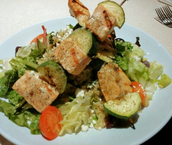 Zoes Kitchen Salmon Kabob salmon kabob and quinoa salad at zoes kitchen | dining out lent