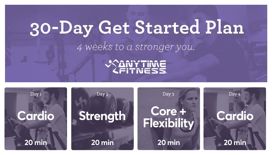 30 Day Get Started Plan Workout Plan For Beginners Workout Calendar Anytime Fitness
