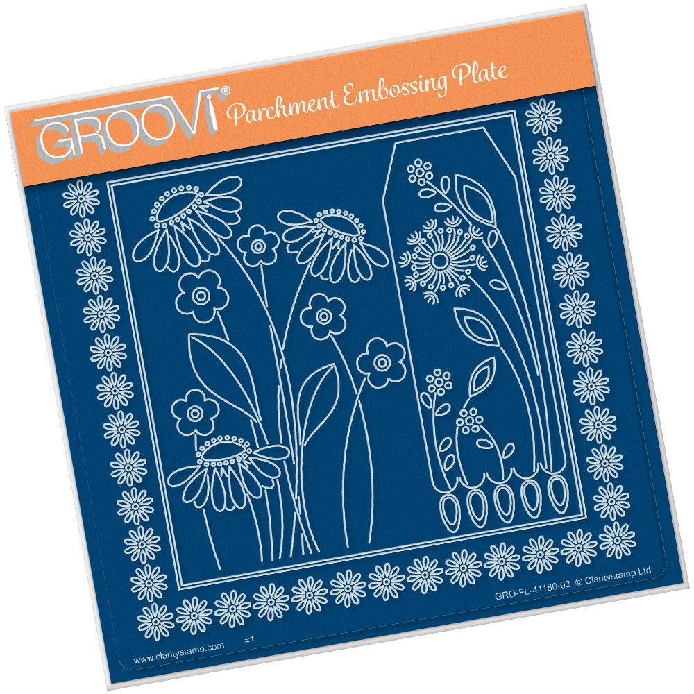Flowers Clarity Stamps Groovi Parchment Embossing A6 or Spacer Plate