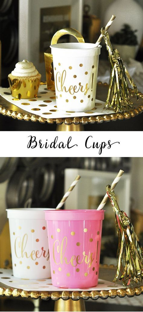 bridal shower decor cups printed with cheers are pretty bridal shower decorations for a pink and gold bridal shower or wedding by mod party