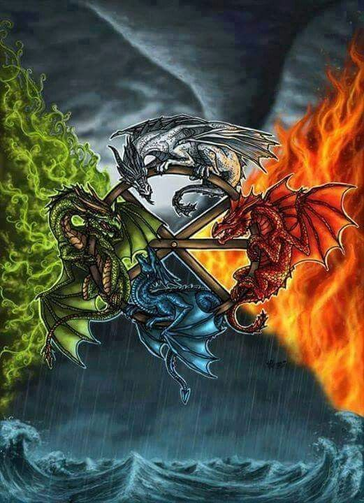 elemental dragons fantasy art