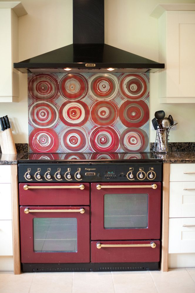 Funky Splashbacks Red Circles glass splashback | Funky ...