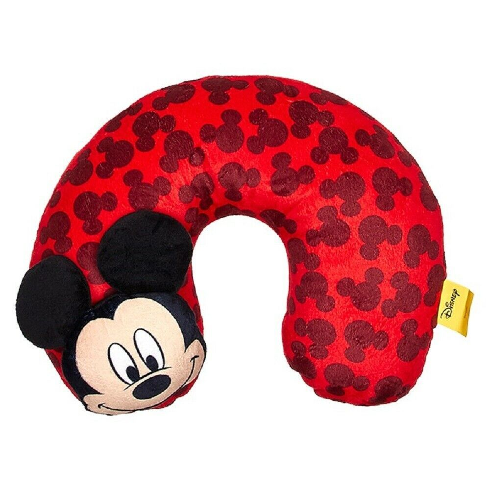 """Disney Mickey Mouse 3D Kids Plush Comfy Character Neck Pillow 11/"""" x 13/"""" New"""