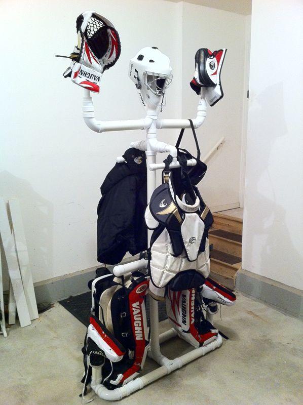 Homemade Equipment Drying Rack - Goalie Store Bulletin Board Hockey Goalie  Gear 30fcf163f99