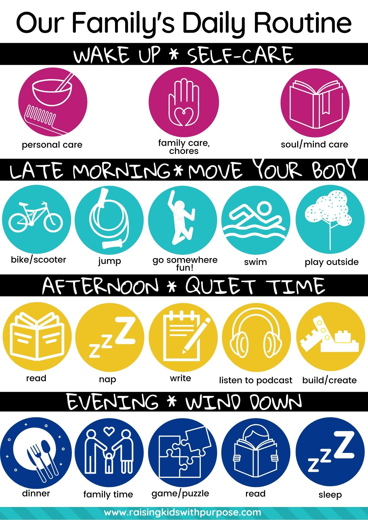 Daily Routine Chart For Families In