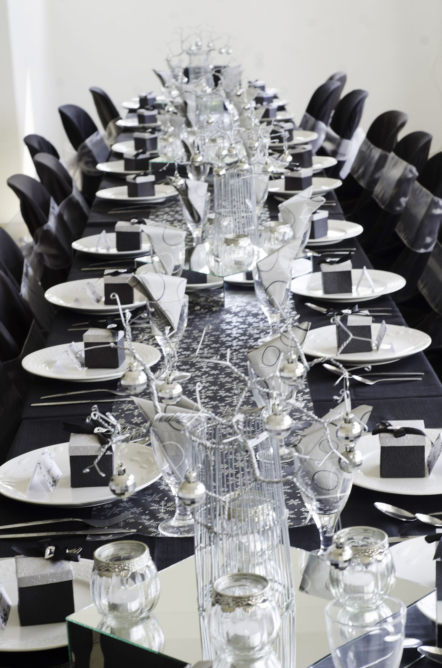 Silver And Grey Table Setting For Christmas Lunch Dinner