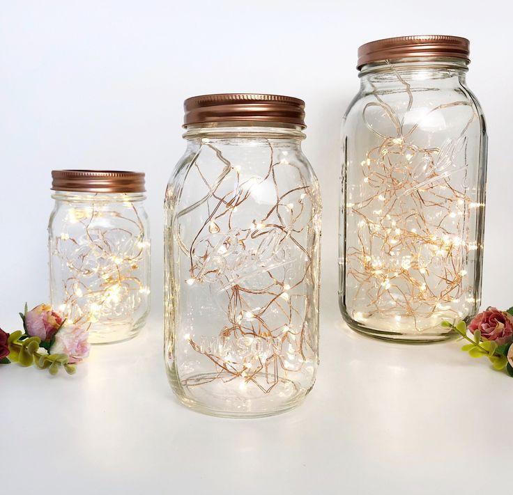 MASON JAR LIGHTS  rose gold bedroom