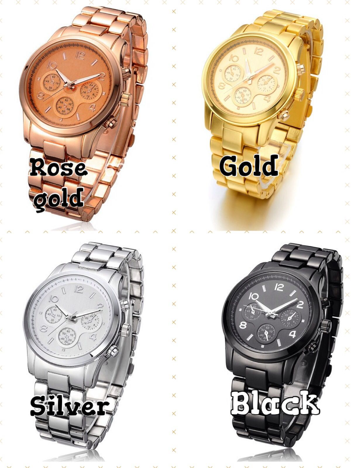 Oversized watches -$25  Face is 1.5 inches and comes in these four colors. Contact for ordering or go to facebook.com/ellajamesshop