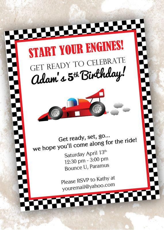 Race Car Theme Birthday Invitations Set Of 20 Customizable