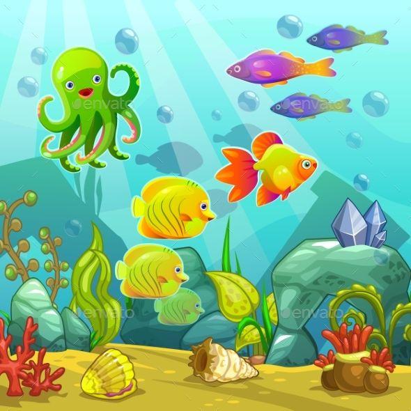 Cartoon Underwater Landscape Aquarium Drawing Underwater Cartoon Cute Wallpaper Backgrounds