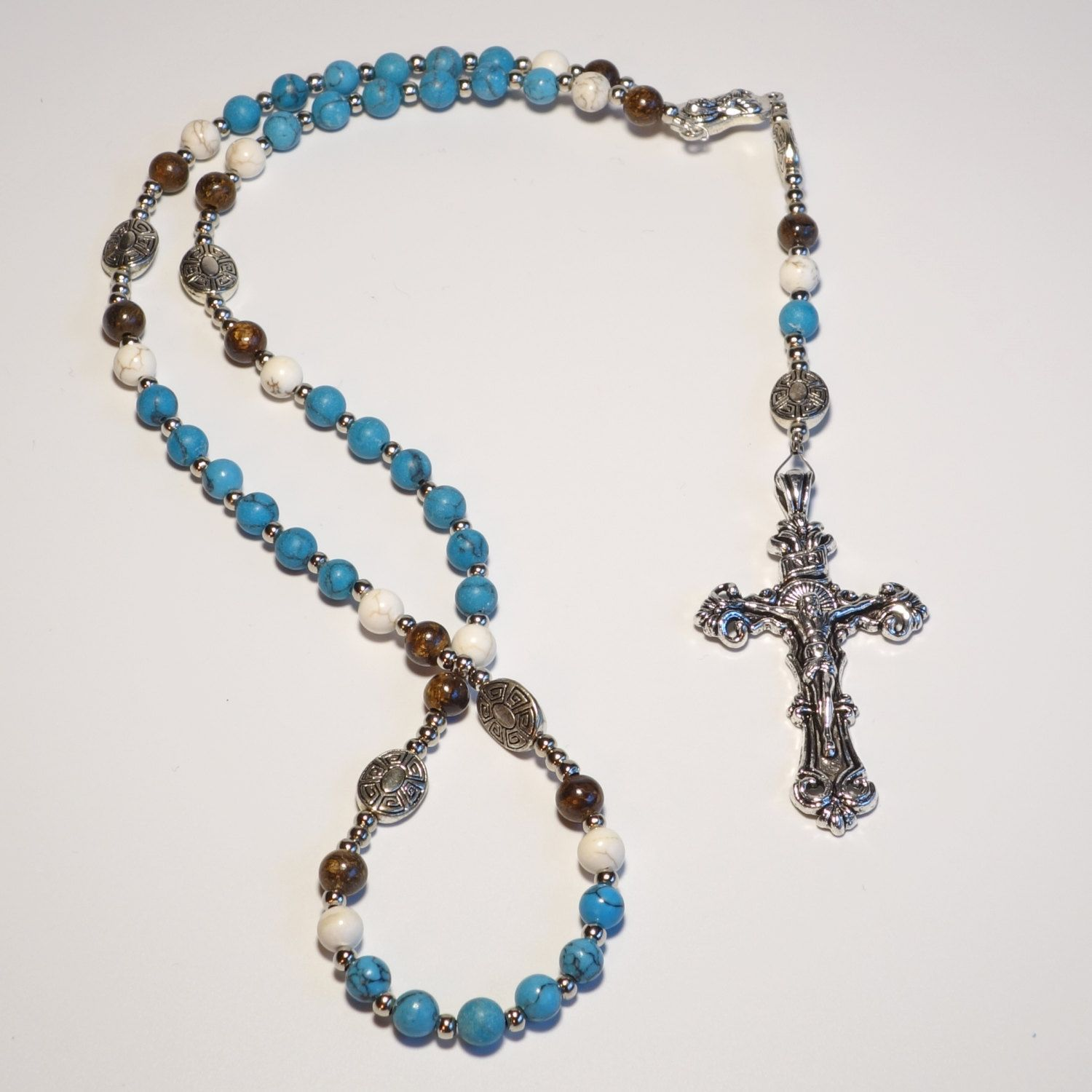 Handcrafted Catholic Saints Rosary Necklace Beaded Chain - Turquoise/White/Brown by DungleBees on Etsy