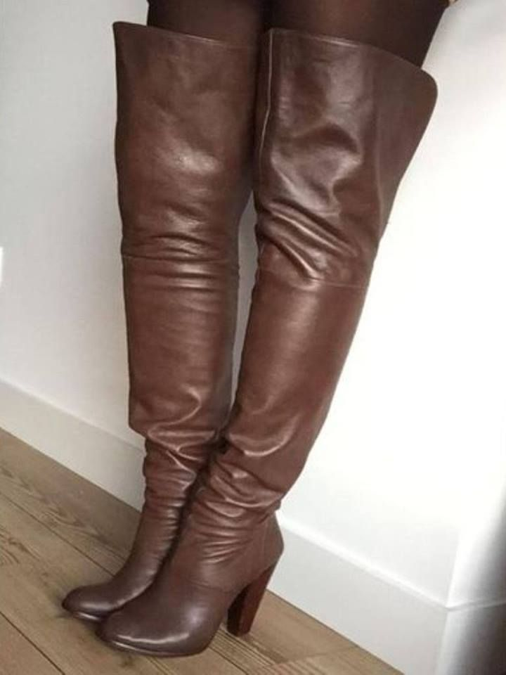 "ce6de64ec8b New sexy rare vintage 31"" wild pair black leather thigh high boots ..."