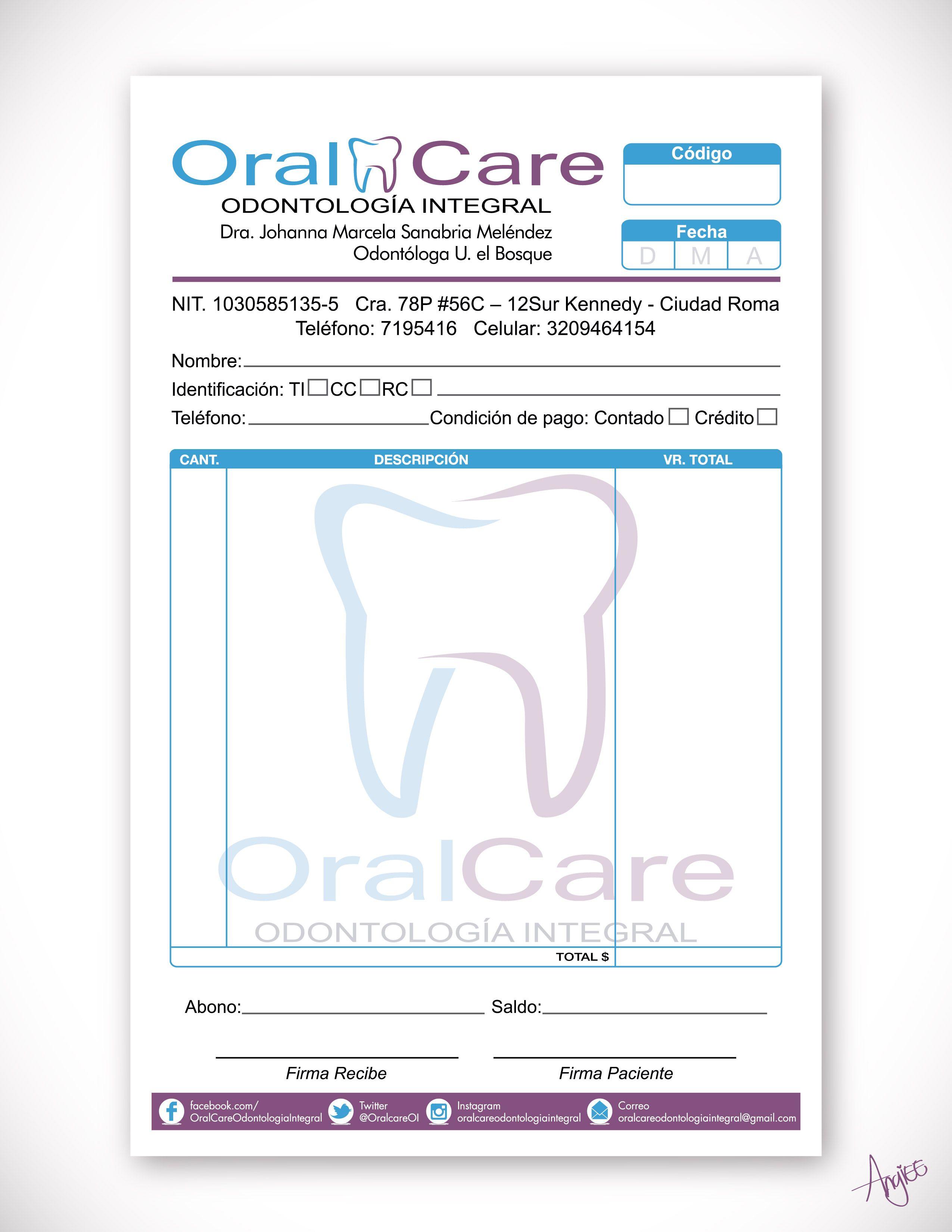 Diseño de Factura para OralCare Odontología Integral Angiee Padilla ...