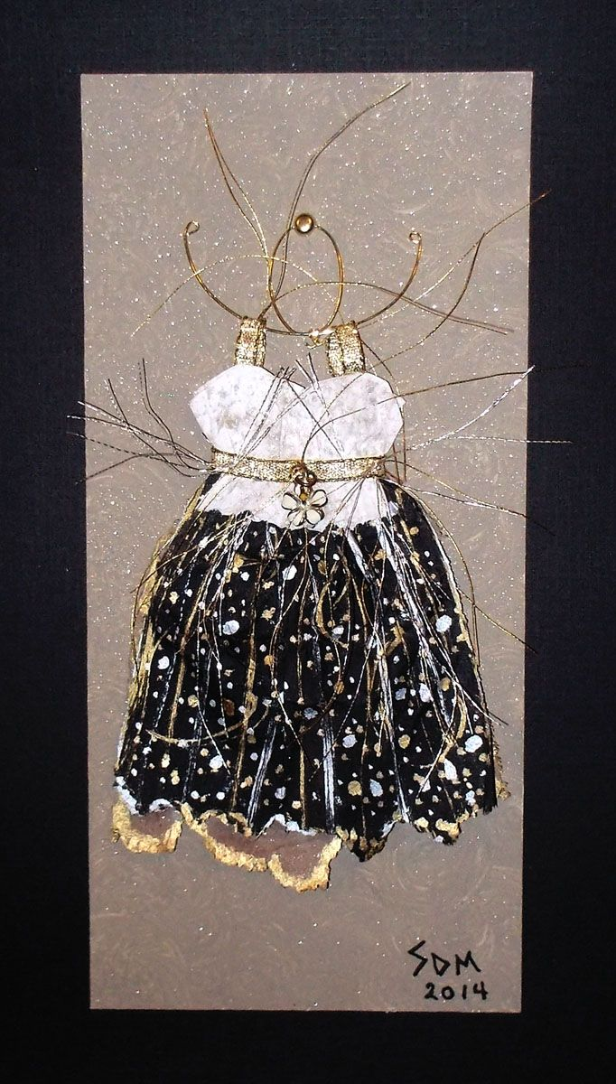 Sherri Minker Artist..tiny little tea bag dress, so detailed and hand stitched,painted and designed..mounted and framed, how wonderful is this miniature designer dress