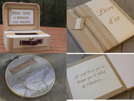 Ensemble livre dor + porte-alliance + boite à message gamme 2 |mariage champêtre chic|