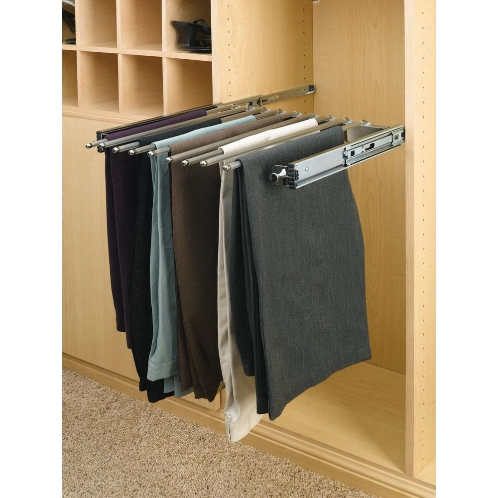 Keep Your Closet Manageable And Chaos Free With Chrome Pull Out Pants Rack Full Extension Slides Easy To Access Unparalleled Convenience