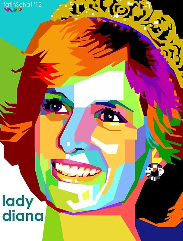 Tantangan Wpap Category Tokoh Politik Dunia Image Princess Diana Vector Art Photoshop Pop Art Portraits Wpap Art