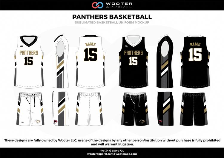 Panthers Basketballs ball White Black Gray and Gold Basketball uniforms  jerseys shorts  basketballuniforms 9ad9ce71e