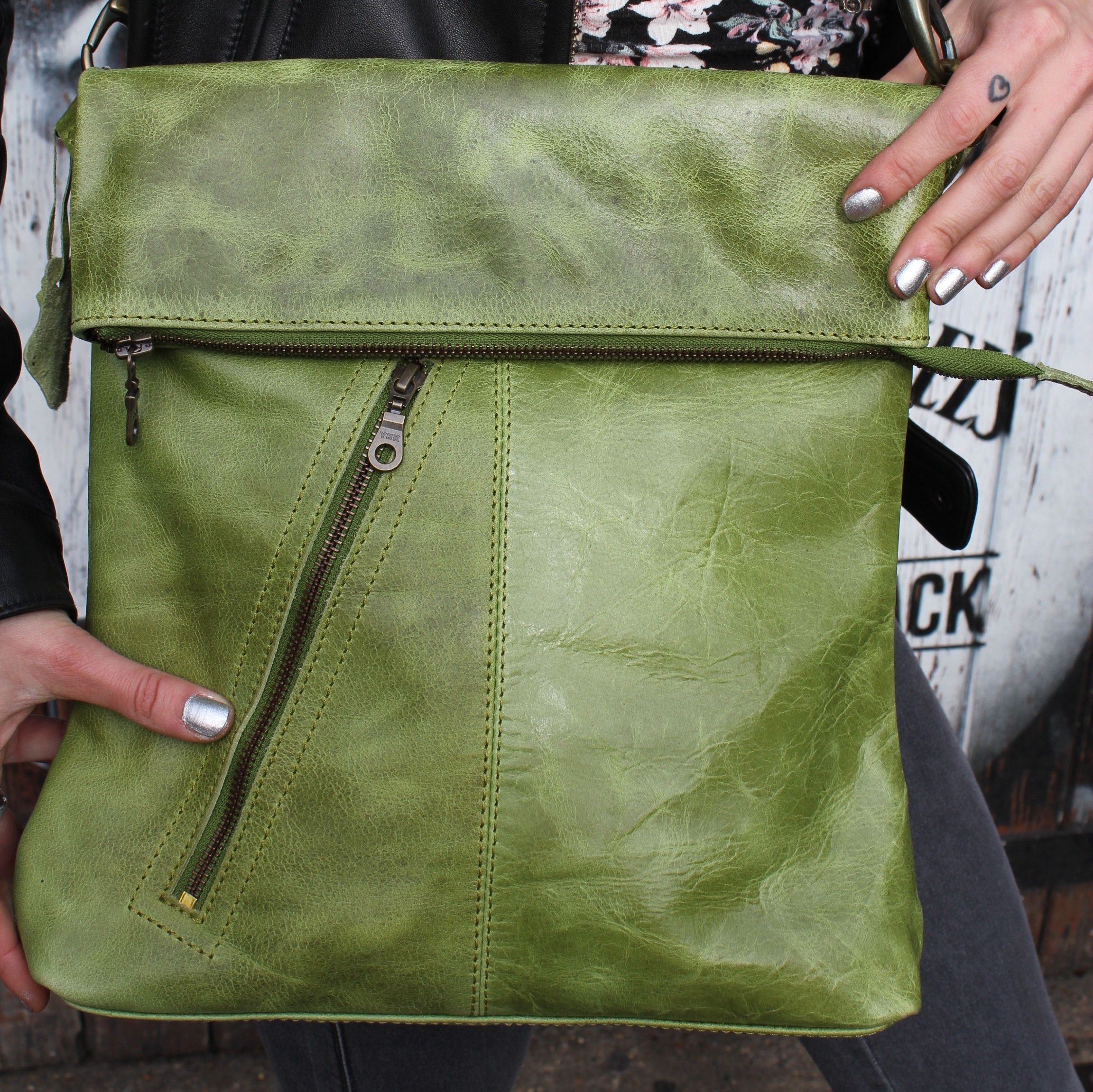 Amelie Apple Green Leather Flapover Messenger Bag | Odilynch.com ...