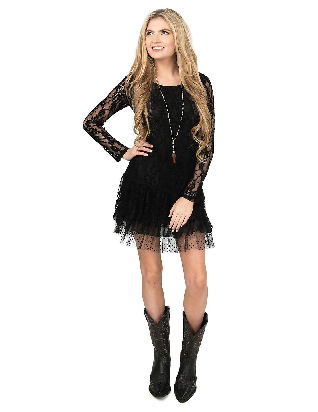 Cowgirl Hardware Women S Black Lace With Ruffled Bottom Long Sleeve Dress Cavender S Cowgirl Dresses Country Western Dresses Western Dresses [ 1440 x 1110 Pixel ]