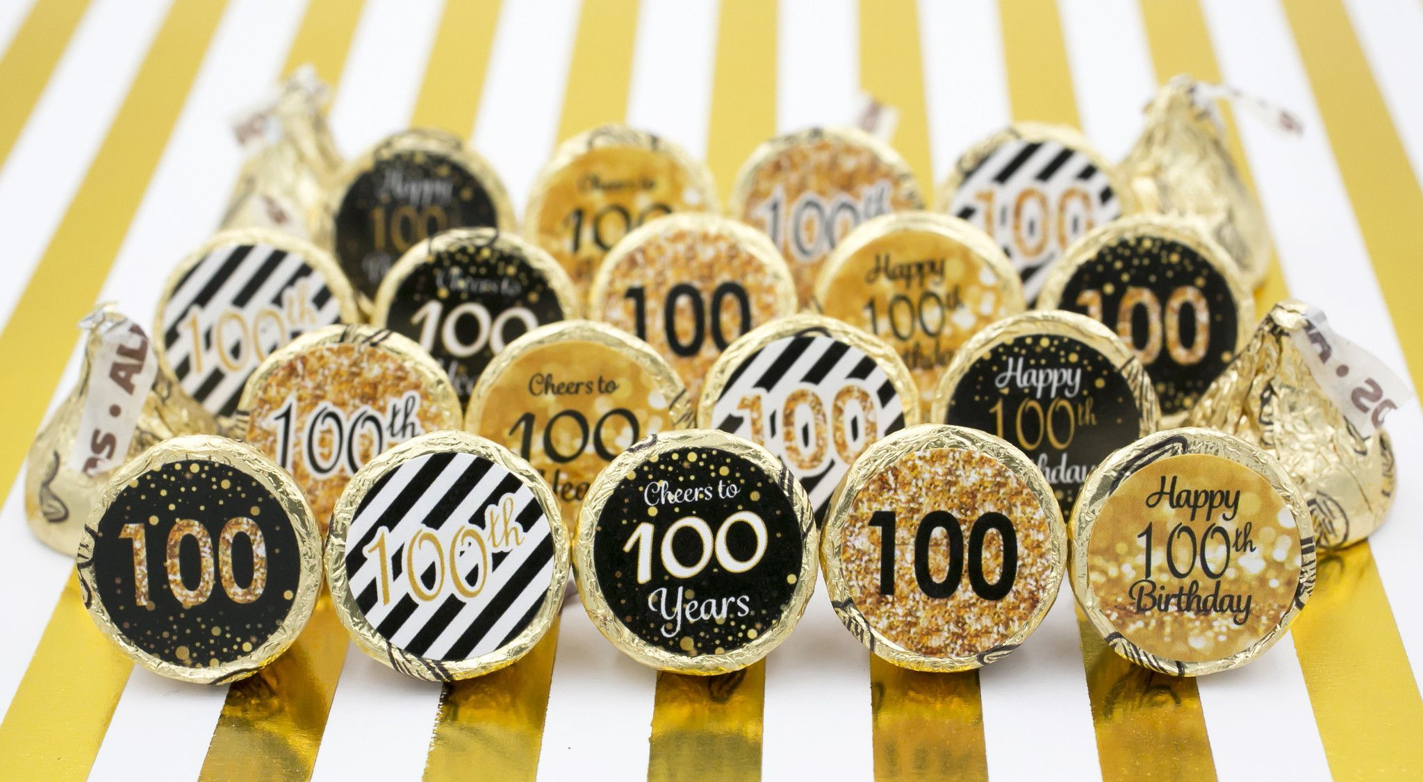 Celebrate this special birthday milestone with these gold and black 100th birthday party favor stickers that will be a sure hit at your party. Designed to fit perfectly on the bottom of Hershey kisses