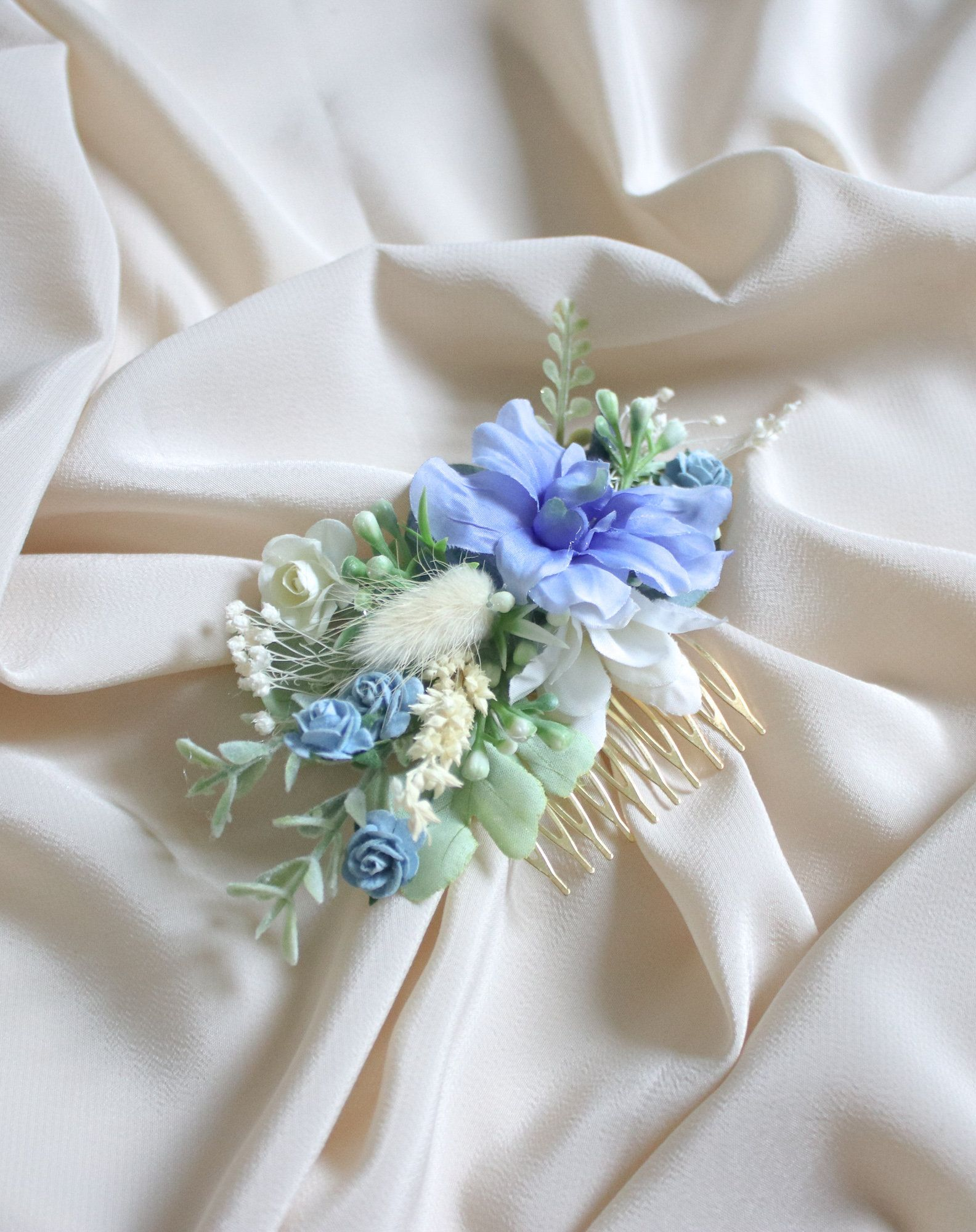 Easter Blue Hair Comb Rustic Weddings Decorative Hair Comb Forest