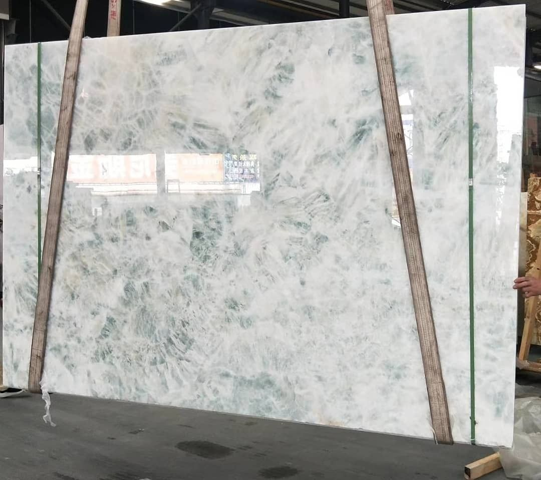Luxury Blue Ice White Onyx Slab Decor Marble Wall Covering Stone Slab
