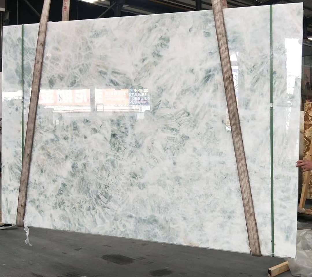 Luxury Blue Ice White Onyx Slab Decor Marble Wall Covering Stone Slab