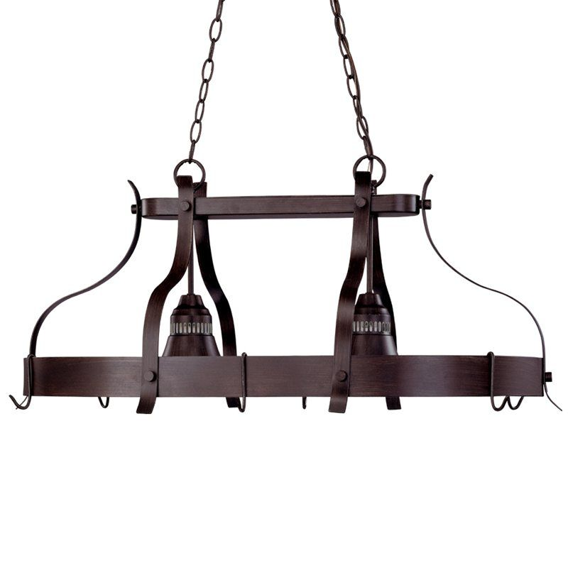 Portfolio 2 light bronze lighted pot rack
