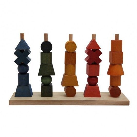 Leo Bella Wooden Story Shapes Stacking Toy Rainbow