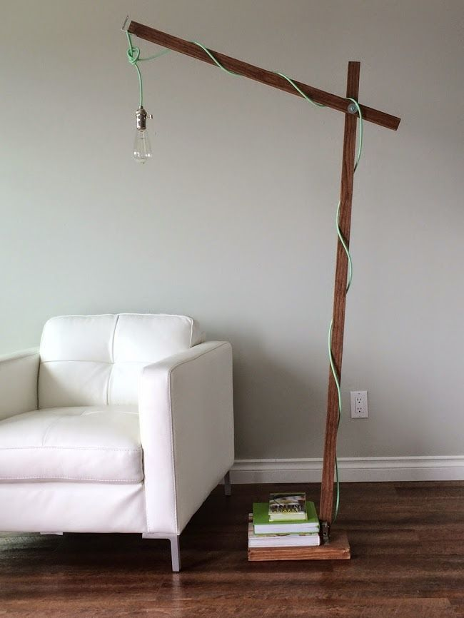 Ana White | Build a Modern Wood Floor Lamp from a 1x2 | Free and ...