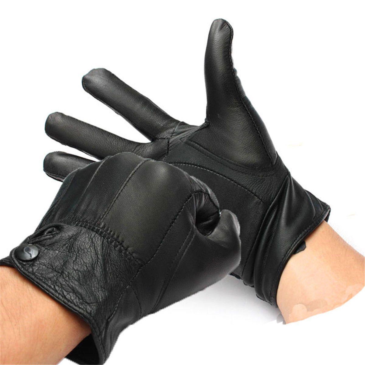 Motorcycle gloves exoskeleton - Premium Leather Motorcycle Moto Bike Biker Riding Winter Coral Fleece Warm Glove