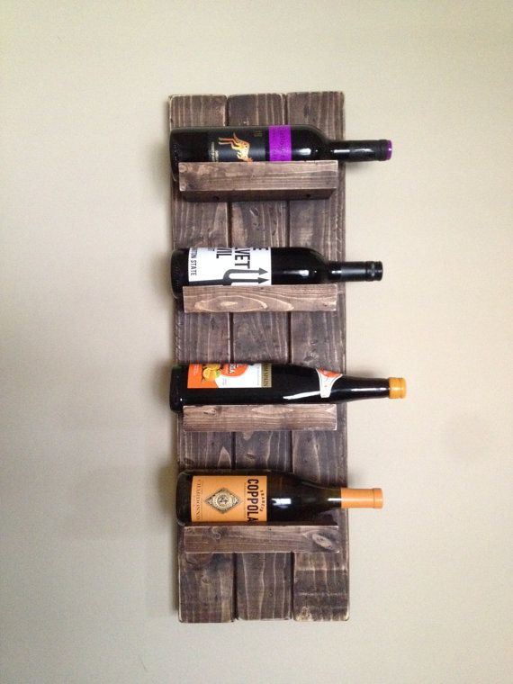Rustic Wall Mounted Wine Rack by BPcustombuilds on Etsy
