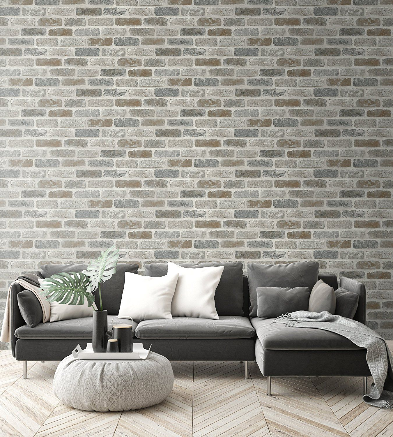 Nextwall Washed Faux Brick Peel And Stick Wallpaper
